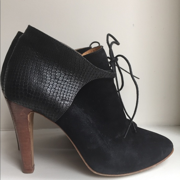 5ef65d401b6 Sezane Shoes | Szane Black Suedeleather High Heels Ankle Boots ...